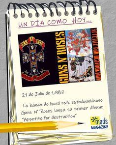 """APETITO POR LA DESTRUCCIÓN! #UnDiaComoHoy la banda de #hardrock Guns N' Roses lanzaba su primer álbum: """"Appetite for destruction"""", dejándonos clásicos como """"Sweet Child of Mine"""" y """"Welcome to the Jungle"""". Quieres sabes más de Axl & Slash?? en la próxima edición de Mads Magazine te lo contamos. #Efemerides #efemeridesdelrockmetal #EfemeridesMusicales #EfemeridesDeHoy #gunsnroses #appetitefordestruction"""