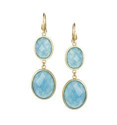 18K Clad Caribbean Blue Quartzite Dangle Earrings