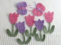 Tulips and Butterflies by Crocheterie