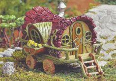 Gypsy Wagon Fairy Garden Cottage Backyard Miniature - Baby Feathers Gift Shop