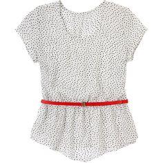 Metropolis. Modelo: G815B0507293LKS. Blusa escote redondo, corte en cintura y cinturón rojo.