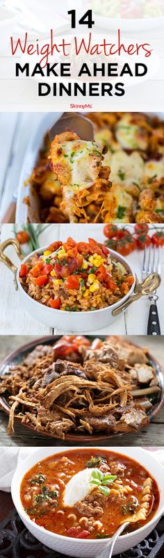14 Weight Watchers Make-Ahead Dinners What's for dinner? Check out these delicious recipes and add one (or more!) of these 14 Weight Watchers make-ahead dinners to the menu this week. Weight Watchers Menu, Weight Watcher Dinners, Weight Watchers Freezer Meals, Healthy Cooking, Healthy Dinner Recipes, Healthy Eating, Delicious Recipes, Clean Eating, Healthy Meals