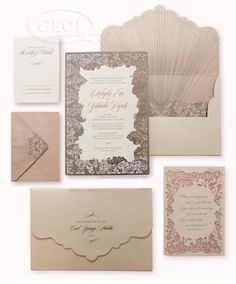 CeciStyle Magazine: Luxury Wedding Invitations by Ceci New York - Our Muse - Blush and Pewter Wedding - Be inspired by Kayla and Hudi's blush-and-pewter wedding...