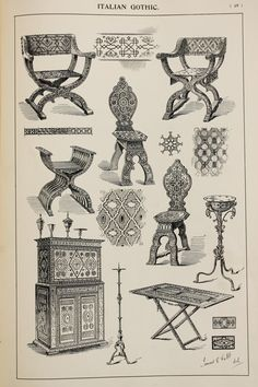 Italian Gothic Furniture Designs Large Antique by PaperPopinjay
