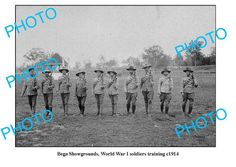 BEGA NSW, SHOWGROUNDS WWI SOLDIERS TRAINING c1914