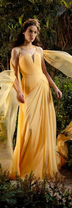 Georges Chakra, Color Yellow, Beauty And The Beast, Special Occasion, Gowns, Banana, Inspiration, Magazine, Clothes
