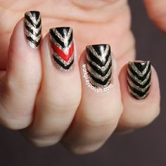 Gold, Black and Red Half Chevron Nails (work / play / polish)