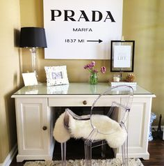 Prada Marfa sign from Etsy; gold print from ssprintshop.com; Black & white frames from Target; Lamp & shade from Target