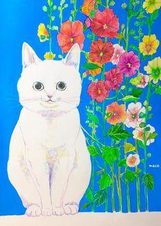 植物画「猫とタチアオイ」[いしもりなこ] | ART-Meter