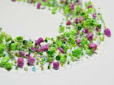 Amazing colors!  Airy Crochet Necklace Tutorial Using Fishing Line - The Beading Gem's Journal