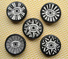 Hey, I found this really awesome Etsy listing at https://www.etsy.com/listing/179061290/evil-eye-hand-drawn-magnets-set-of-3