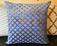 Blue violet velvet decorative pillow cover by pillowflightpdx <3