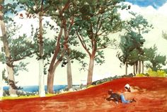 TREES IN ART • L'ARBRE DANS L'ART | Winslow Homer (1836 - 1910), House and Trees in...