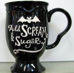 Hallmark Add Scream and Sugar Coffee Mug! For Halloween/Coffee lovers Crackpot Café, Coffee Cups, Tea Cups, Coffee Time, Coffee Barista, Coffee Menu, Coffee Poster, Coffee Coffee, Starbucks Coffee