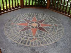 Compass Star Circle concrete stencil. Accent paper stencil for decorative concrete and overlays.