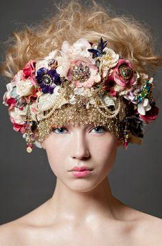 interesting beaded flower crown