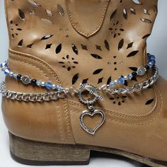 "Anklet Jewelry Customize your Boot Bracelet from Steffie's Sparkles! I can do color combinations, switch out the charm, and make special sizes. Available for adults and kids. I could also make a matching ""Mommy Boot Jewelry, Anklet Jewelry, I Love Jewelry, Anklets, Bling Jewelry, Beaded Jewelry, Custom Jewelry, Jewelry Ideas, Boot Bling"