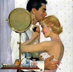 """Joe Bowler    It is always nice to have some help with that bowtie. Now here is a couple who are completely at ease with each other. I think it is called love. This painting was for a Phillip Morris ad in the Saturday Evening Post in November 1955. It was titled """"The Gentle Touch""""."""