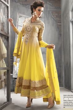 Mesmeric Fawn, Yellow Georgette Heavy Designer Floor Length Long Anarkali Suit