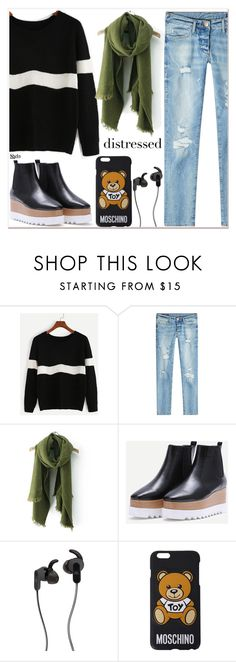 """""""Distressed"""" by mycherryblossom ❤ liked on Polyvore featuring True Religion, JBL and Moschino"""