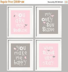 ON SALE Baby Girl Nursery Decor-You are my sunshine - Kids Wall Art-Pink and Gray Nursery-Girl Decor- Playroom Art-Bathroom Decor-Baby Gift