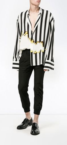 HAIDER ACKERMANN bleach and stripe print shirt, explore new season arrivals on Farfetch.