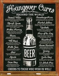 Hangover Cures Tin Sign 13 x This sturdy tin sign is a hilarious but helpful addition to any shared space. Hung in a kitchen or bar or basement, you can not go wrong with some helpful hangover cure suggestions! Tin Signs, Metal Signs, Wall Signs, The Hangover, Hangover Tips, Best Hangover Cure, Very Bad Trip, Hangover Remedies, Game Room Bar