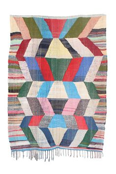 Kilim Boucherouite rugs are colorful flat-weave, one-of-a-kind rag rugs - made of recycled remnants of fabric - but in the hands of the Berber women who weave them, they literally become.... Art. Size