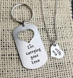 Carrying your love with me   Handstamped Dog tag with missing heart keychain