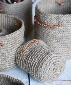Knitting Patterns Dress Crocheted baskets made from twine for my desk - my annual statement Knitting Projects, Crochet Projects, Knitting Patterns, Free Crochet, Knit Crochet, Crochet Bodycon Dresses, Crochet Shrug Pattern, Knit Basket, Pom Poms