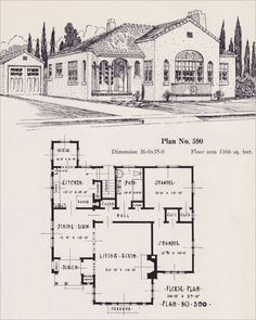 """1926 Portland Homes by Universal Plan Service - No. 590  Spanish Revival was often characterized by its distinctive tile roof and stucco exterior. This plan looks like it was designed for the California market as it shows a """"cooler,"""" a common feature of California homes of the 1920s."""