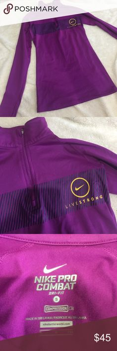 Nike Pro Combat long sleeve ! LIVESTRONG!!!  dri-fit compression long sleeve. In amazing shape, shows 0 sigh of wear. This is a size small. Nike Tops
