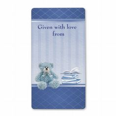 Blue Teddy Bring a Book Baby Shower Bookplates Personalized Shipping Label