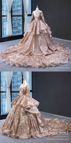 Sparkly Rose Gold Sequin Luxury Ball Gown Prom Dresses - Source by - Ball Gowns Prom, Ball Dresses, Prom Dresses, Formal Dresses, Sparkly Dresses, Flapper Dresses, Sweet 15 Dresses, Pretty Dresses, Princess Dress Patterns