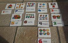 Cijferkaartjes: de kleuter telt het aantal dat op de kaartjes staat en legt het juiste cijfer erbij. De kleuter legt de kaartjes op chronologische volgorde.
