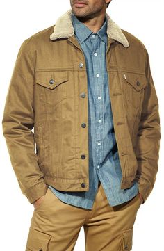 Levi's� Mens Relaxed Sherpa Trucker Jacket - Cougar-Twill $79.99
