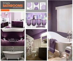 Paint your bathroom pretty in plum purple with this colour idea… Plum Purple, Colours, Paint, Bathroom, Pretty, Decor, Washroom, Picture Walls, Decoration