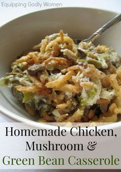 This Homemade Chicken, Mushroom and Green Bean Casserole Recipe is SO good! It's super easy to make too! This Homemade Chicken, Mushroom & Green Bean Casserole Recipe is SO good! It's super easy to make too! Perfect for a busy weeknight! Slow Cooker Huhn, Slow Cooker Chicken, Slow Cooker Recipes, Crockpot Recipes, Chicken Recipes, Cooking Recipes, Chicken Green Beans Crockpot, Cooked Chicken, Chicken Mushroom Recipes