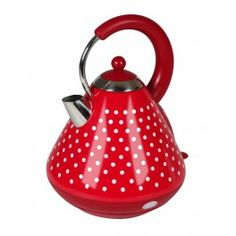 The Art of Coordinated Kitchenwares - KitchenOriginals Classic Polka Dot Kettle by Kalorik - Rapid Boil, Stainless Steel housing, encased in gorgeous Real Ink Hand Printed Polka Dot! 50s Diner Kitchen, Vintage Kitchen, White Toaster, Stainless Steel Kettle, Things To Buy, Stuff To Buy, Argos, My Room, Kitchenware