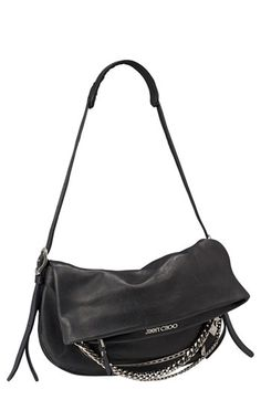 Jimmy Choo 'Biker - Small' Leather Crossbody Bag available at Number one on the Ultimate Wish List. Look Star, Accesorios Casual, Designer Shoulder Bags, Black Leather Crossbody Bag, Biker Leather, Beautiful Bags, Black Handbags, Handbag Accessories, Fashion Bags