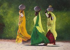 Indian. Indian women, life, green, orange, yellow, colorful dresses printed flowery, green trees, modern, contemporary