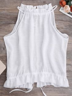 Tie Back Frilled Tank Top - White