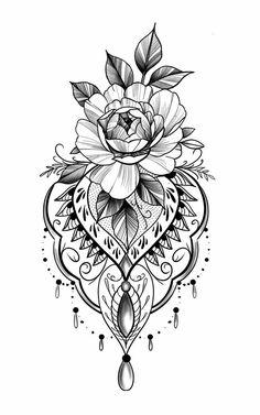 (notitle) - Dotwork Mandala - Tattoo Designs For Women Tattoo Femeninos, Henna Tattoos, Fake Tattoos, Flower Tattoos, Tattoo Drawings, Body Art Tattoos, New Tattoos, Girl Tattoos, Tattoos For Women