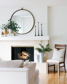 Mini Christmas Home Tour & Holiday Decor Round Up - Classically Dunn : Mini Christmas Home Tour & Holiday Decor Round Up – Classically Dunn Mirror Over Fireplace, Home Fireplace, Fireplace Design, Mantle Mirror, Simple Fireplace, My Living Room, Home And Living, Living Room Decor, Chimney Decor
