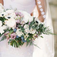 Lavender, blue and white bridal bouquet