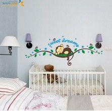 Pas cher Cartoon Dream Baby singe Stickers muraux Arbre Stickers muraux pour enfants Chambres Décoration Nursery Singe Birds Wallpaper Affiche, Acheter  Autocollants muraux de qualité directement des fournisseurs de Chine: