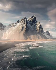 Vestrahorn, Iceland, a 454 meter high mountain overlooking the Atlantic Ocean. East Of The Sun, Mountain Photography, Mountain Paintings, Nature Images, Atlantic Ocean, Mountain Landscape, Photo Location, Top Photo, Nice View