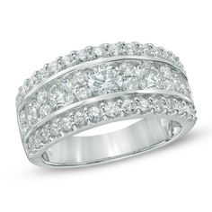 2 CT. T.W. Diamond Anniversary Band in 14K White Gold - Rings - Zales