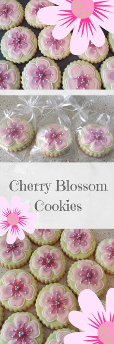 Cherry Blossom Spring Flower Sugar Cookies, Summer Flower Party Gifts, Mother's Day Birthday Celebration Party Favors custom cookies #affiliate