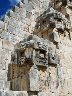 Chaak and stairs   Yucatan  Mexico